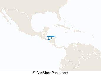 sudamérica, con, destacado, honduras, map.