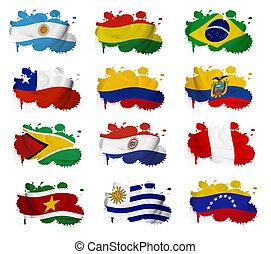 sudamérica, países, bandera, blots