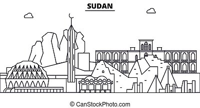 Sudan architecture skyline buildings, silhouette, outline...