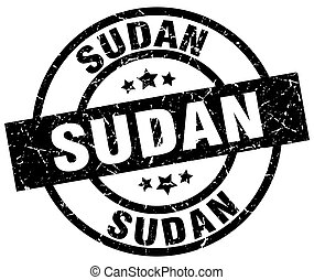 Sudan black round grunge stamp
