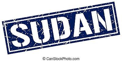 Sudan blue square stamp