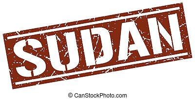 Sudan brown square stamp