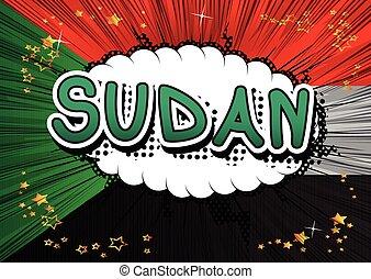 Sudan - Comic book style text.