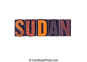 Sudan Concept Isolated Letterpress Type