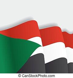 sudan, falować, wektor, illustration., flag.