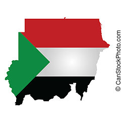 Sudan Flag - Flag of the Republic of the Sudan overlaid on...