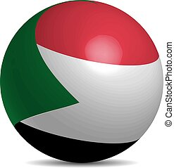 Sudan flag on a 3d ball with shadow