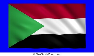 Sudan flag on green screen for chroma key