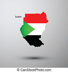 Sudan flag on map of country