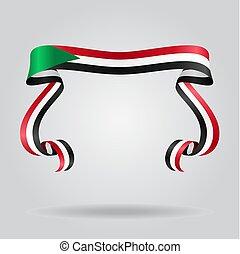 Sudan flag wavy ribon background. Vector illustration. -...