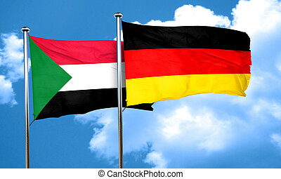 Sudan flag with Germany flag, 3D rendering