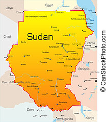 Sudan  - Abstract vector color map of Sudan country