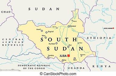 sudan, karta, politisk, syd