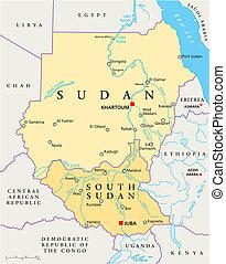 sudan, landkarte, politisch, süden