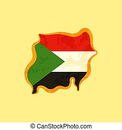 Sudan - Map colored with Sudanese flag