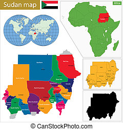 Sudan map - Administrative division of the Republic of the...