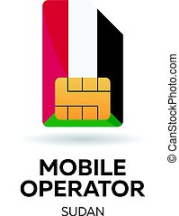 Sudan mobile operator. SIM card with flag. Vector illustration.