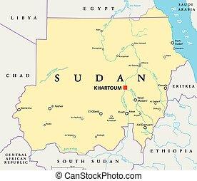 Sudan Political Map - Sudan political map with capital...
