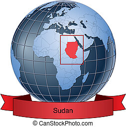 Sudan, position on the globe Vector version with separate...