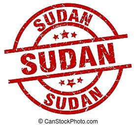 Sudan red round grunge stamp