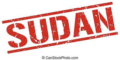 Sudan red square stamp