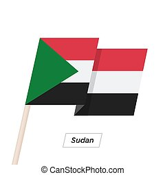 Sudan Ribbon Waving Flag Isolated on White. Vector ...