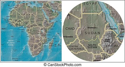 Sudan South Sudan Africa map