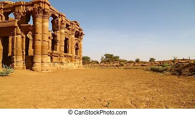 sudan unidentified people in the antique ruins