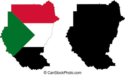 sudan - vector map and flag of Sudan with white background.