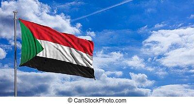 Sudan waving flag on blue sky. 3d illustration