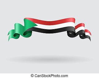 Sudan wavy flag illustration. - Sudan flag wavy abstract...
