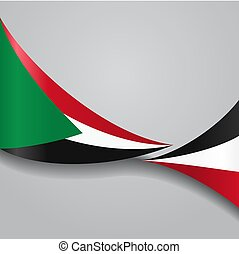 Sudan wavy flag. Vector illustration. - Sudan flag wavy...
