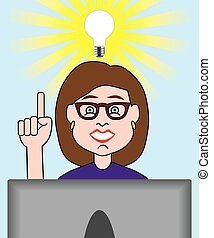 Sudden Inspiration 2 - A cartoon woman working on her...