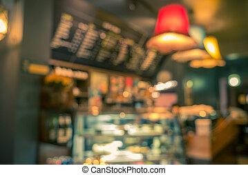 suddig avbild, av, kaffeaffär, abstrakt, bakgrund