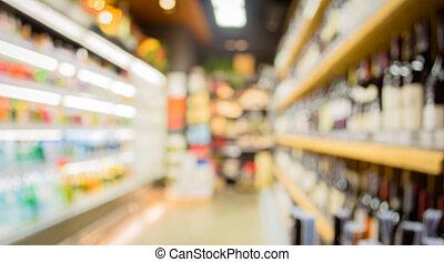 suddig avbild, av, supermarket