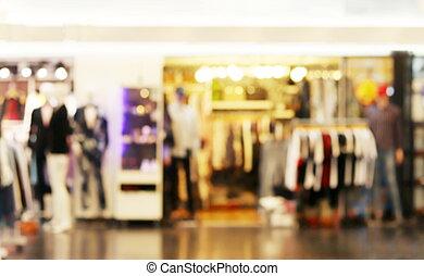 suddig, bild, av, bekläda lagret, mode, butik, insida, köpcenter, varuhus, bakgrund, bekläda lagret, mode, fläck, insida, galleria