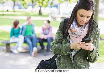 suddig, deltagare, parkera, högskola, flicka, messaging, ...