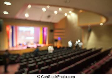 suddig fond, av, teater, med, hålla ögonen på, arrangera, från, seat.