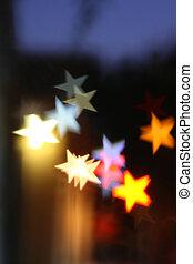 suddig, highlights., bakgrund, star-shaped