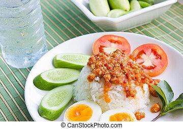 sudeste, alimento, asiático
