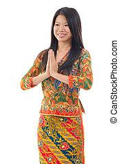 sudeste, mujer, asiático, saludo