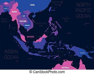 sudeste, nomes, map., alto, etiquetando, região, capital, ásia, político, mapa, sudeste, país, oceânicos, detalhado, mar