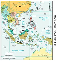 sudeste, político, asia, mapa