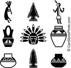 sudoeste, nativo, artefacto, iconos