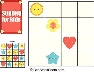 Sudoku game for children. Kids activity sheet with cute shapes