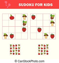 Sudoku game for children with pictures. Kids activity sheet. Cartoon style