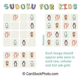 Sudoku game for children with pictures. Kids activity sheet with funny animals. Logic education game. Vector illustration