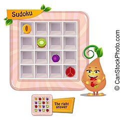 Sudoku game kids fruits
