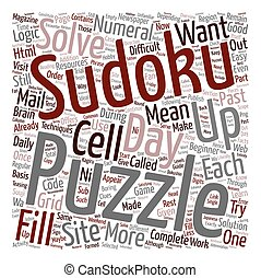 sudoku of the day text background wordcloud concept