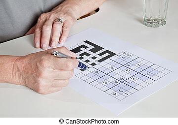 sudoku, opgave, kvinde, spille, moden